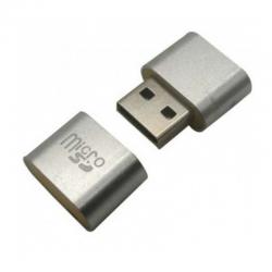 LECTOR USB V2.0 MICROSD PLATA