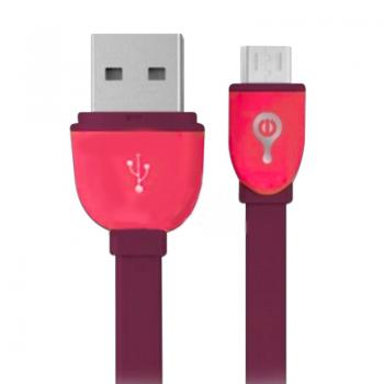 CABLE MICRO USB  MORADO/ROJO
